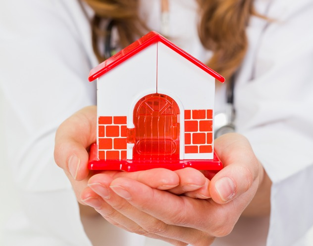 background image - small home in hands