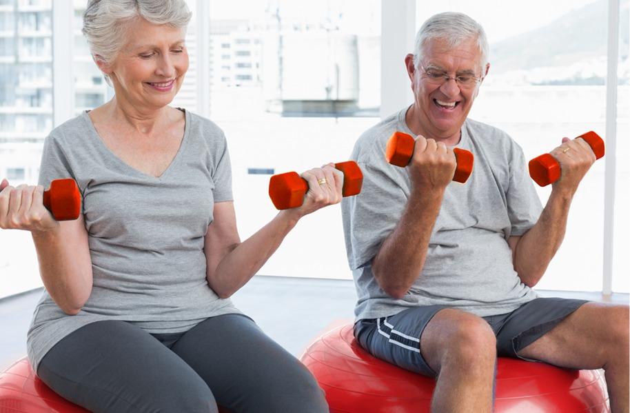 man and women exercising